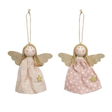 Christmas Tree Decorations - Hanging Fabric Angel Set of 2 Pink (14cm)