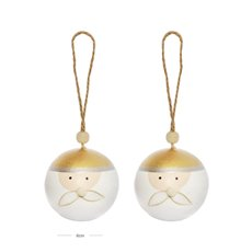 Christmas Baubles - Hanging Bauble Santa Pack 2 Gold (6cm)