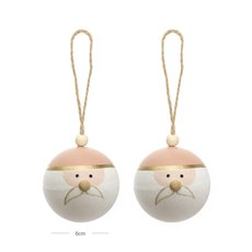 Christmas Baubles - Hanging Bauble Santa Pack 2 Pink (6cm)