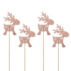 Christmas Picks - Wooden Christmas Pick Reindeer Pack 4 Pink (30cm)