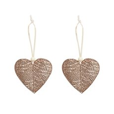 Christmas Tree Decorations - Hanging Metallic Heart Pack 2 Rose Gold (8x8cm)