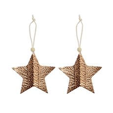 Christmas Tree Decorations - Hanging Metallic Star Pack 2 Rose Gold (10x10cm)