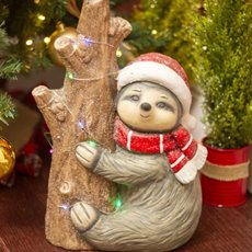 Home Seasonal Decorations - Sloth on The Tree Decoration LED Red (25.5x37.5cm)