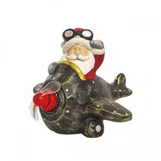 Christmas Ornaments - Santa on Aircraft with LED Laser Lighting Red (21.5x17cm)