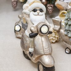 Christmas Ornaments - Santa on Scooter Decoration LED Gold (47x42.5cm)