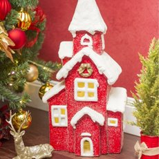 Christmas Ornaments - House Decoration with LED and Music Red (30x59cm)