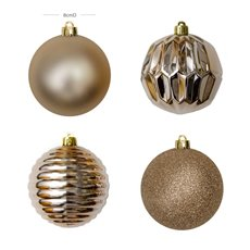Christmas Tree Decorations - Baubles Assorted Designs Set 16 Champagne Gold (8cmD)