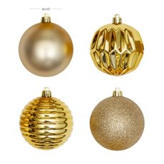 Christmas Baubles - Baubles Assorted Designs Set 16 Gold (8cmD)