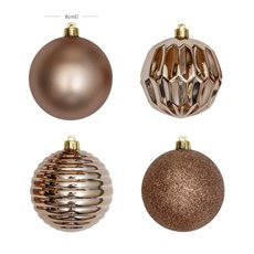 Christmas Tree Decorations - Baubles Assorted Designs Set 16 Ice Pink (8cmD)