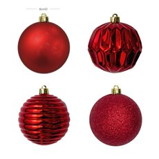Christmas Baubles - Baubles Assorted Designs Set 16 Red (8cmD)