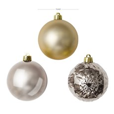 Christmas Baubles - Baubles Assorted Designs Set 30 Champagne Gold (7cmD)