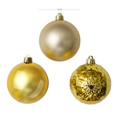 Christmas Tree Decorations - Baubles Assorted Designs Set 30 Gold (7cmD)