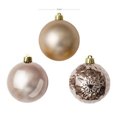 Christmas Baubles - Baubles Assorted Designs Set 30 Ice Pink (7cmD)