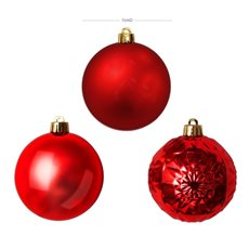 Christmas Baubles - Baubles Assorted Designs Set 30 Red (7cmD)