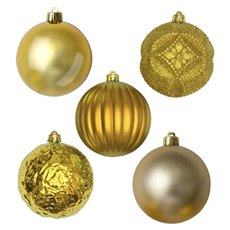 Christmas Baubles - Baubles Assorted Designs Set 9 Gold (10cmD)