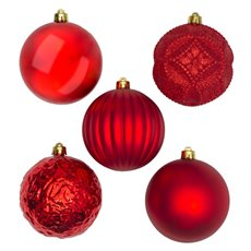 Christmas Tree Decorations - Baubles Assorted Designs Set 9 Red (10cmD)