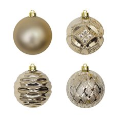 Christmas Baubles - Hanging Christmas Bauble Champagne Gold (6cm) Pack 24