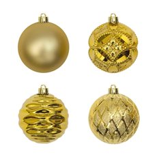 Christmas Baubles - Hanging Christmas Bauble Gold (6cm) Pack 24