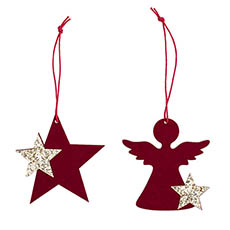 Christmas Tree Decorations - Hanging Decoration Flocked Set 12 Red (7cmH)
