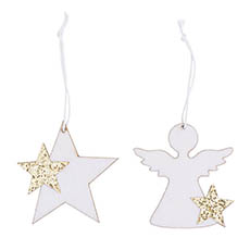 Christmas Tree Decorations - Hanging Decoration Flocked Set 12 White (7cmH)