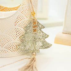 Christmas Tree Decorations - Hanging Christmas Tree with Jute Tassel Pack 2 Gold (8cmH)