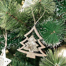 Christmas Tree Decorations - Hanging Christmas Tree Pack 2 Gold (10cmH)