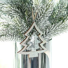 Christmas Tree Decorations - Hanging Christmas Tree Pack 2 Silver (10cmH)