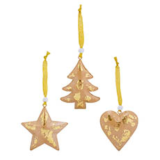 Christmas Tree Decorations - Metal Hanging Decoration Mixed Designs Set 6 Gold (9cmH)