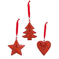 Christmas Tree Decorations - Metal Hanging Decoration Mixed Designs Set 6 Red (9cmH)