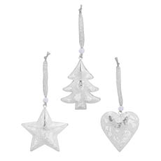 Christmas Tree Decorations - Metal Hanging Decoration Mixed Designs Set 6 Silver (9cmH)