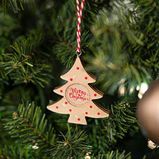 Christmas Tree Decorations - Hanging Decoration Christmas Tree Gloss Natural (8cmH)