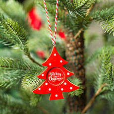 Christmas Tree Decorations - Hanging Decoration Christmas Tree Gloss Red (8cmH)