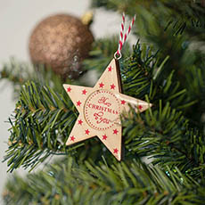 Christmas Tree Decorations - Hanging Decoration Star Gloss Natural (8cmH)