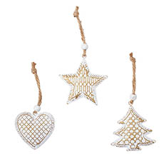 Christmas Tree Decorations - Metal Hanging Decoration Mixed Designs Set 3 White (6.5cmH)