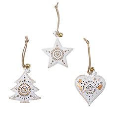 Christmas Tree Decorations - Metal Hanging Decoration Mixed Designs Set 3 White (9cmH)