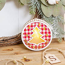 Christmas Ornaments - Wooden Hanging Gingham Decoration w Light Red (11x11x4cm)
