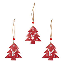 Christmas Tree Decorations - Wooden Hanging Christmas Tree Pack 3 Red (8.8x8.2x0.5cm)
