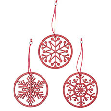 Christmas Tree Decorations - Wooden Hanging Snowflakes Set 9 Red (32.8x2.5x11.5cm)