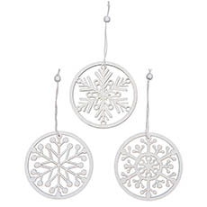 Christmas Tree Decorations - Wooden Hanging Snowflakes Set 9 White (32.8x2.5x11.5cm)
