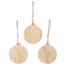 Christmas Tree Decorations - Wooden Hanging Decoration Set 9 Natural Gold (9cm)