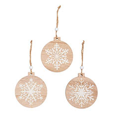 Christmas Tree Decorations - Wooden Hanging Decoration Set 9 Nat White (9cm)