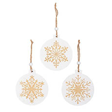 Christmas Tree Decorations - Wooden Hanging Decoration Set 9 White w Gold (11x11.5cmH)