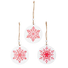 Christmas Tree Decorations - Wooden Hanging Decoration Set 9 White w Red (11x11.5cmH)