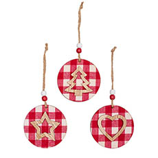 Christmas Tree Decorations - Wooden Hanging Decoration Set 9 Gingham Red (7x7x0.8cm)