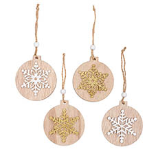 Christmas Tree Decorations - Wooden Hanging Decoration Set 8 White Gold (7.5x0.5x8cm)