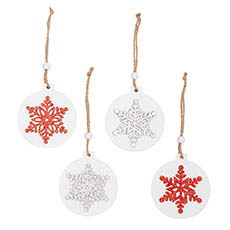 Christmas Tree Decorations - Wooden Hanging Decoration Set 8 Red Silver (7.5x0.5x8cm)