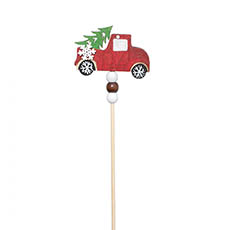 Christmas Ornaments - Wooden Car Picks Pack 4 Red (30cmH)