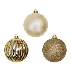 Christmas Baubles - Hanging Christmas Bauble Champagne Gold (8cm) Pack 25