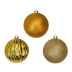 Christmas Baubles - Hanging Christmas Bauble Gold (8cm) Pack 25