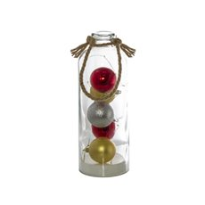 Christmas Ornaments - Glass Bottle & Baubles with LED Lights (11x31cmH)